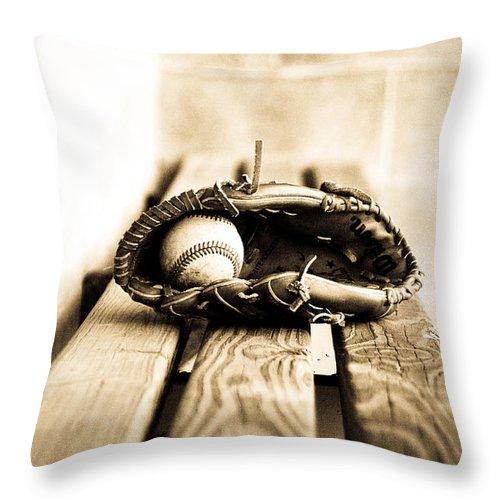 Baseball Glove Throw Pillow featuring the photograph Play Ball Sepia by Susan Schumann
