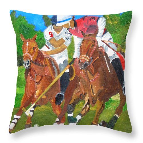 Polo Throw Pillow featuring the painting Play In Motion by Michael Lee