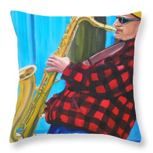 Sax Player Throw Pillow featuring the painting Play It Mr Sax Man by Michael Lee