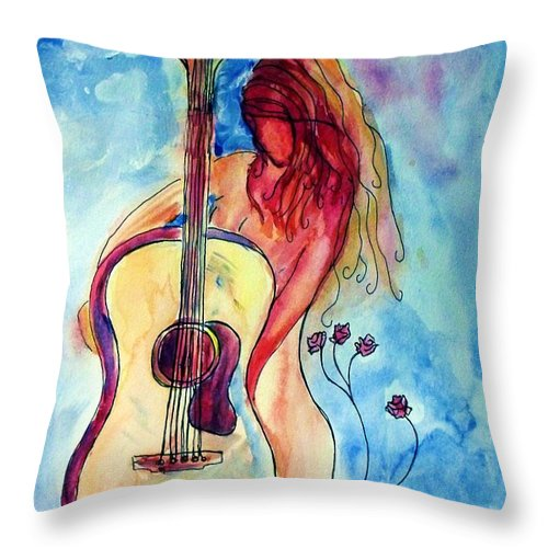 Guitar Throw Pillow featuring the painting Play Me A Song by Robin Monroe