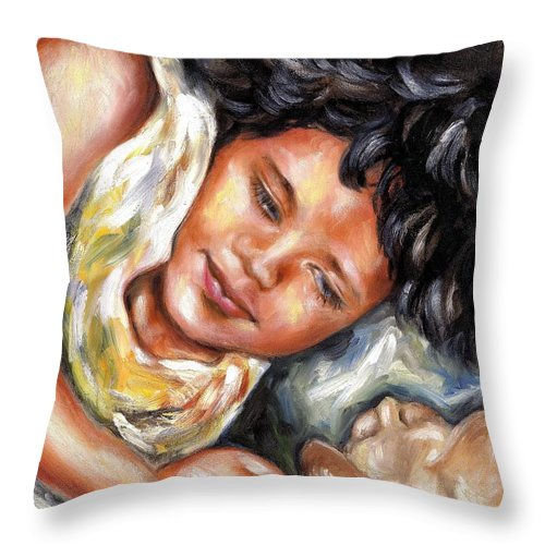 Child Throw Pillow featuring the painting Play time by Hiroko Sakai