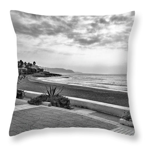 Monochromephotography Throw Pillow featuring the photograph Playa Burriana, Nerja by John Edwards