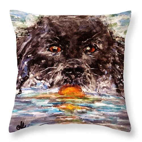 Dog Throw Pillow featuring the painting Playful..2 by Cristina Mihailescu