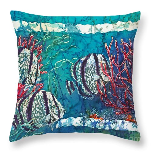 Fish Throw Pillow featuring the painting Playful Trio by Sue Duda