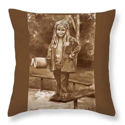 Little Girl On Bench In Park Throw Pillow featuring the painting Playground 2 by Judy Swerlick