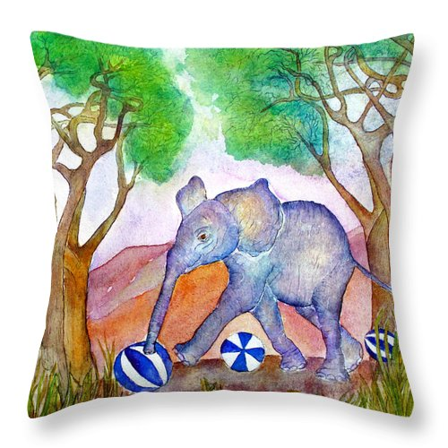Baby Elephant Throw Pillow featuring the painting Playing By The Baobab Tree by Janet Immordino