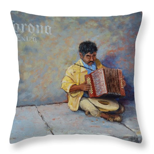 Mexico Throw Pillow featuring the painting Playing For Pesos by Jerry McElroy