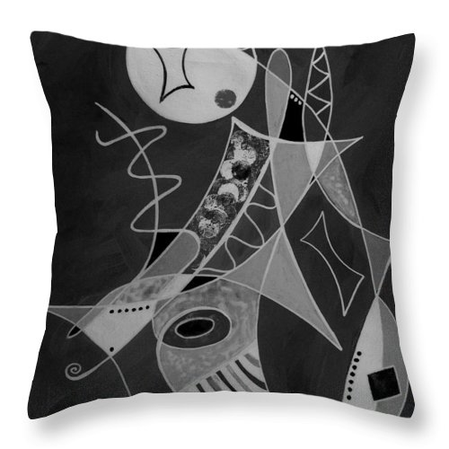 Abstract Throw Pillow featuring the painting Playing Go Fish by Ruth Palmer