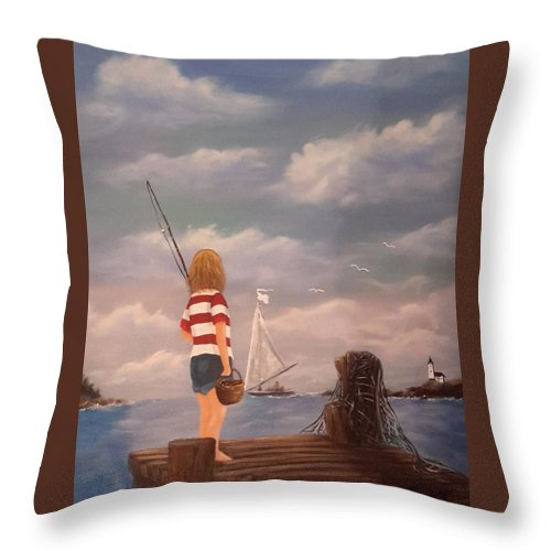 Boy Throw Pillow featuring the painting Playing Hooky by Theresa Prokop