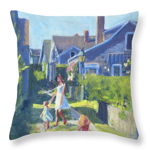 Playing On Front Street Throw Pillow featuring the painting Playing On Front Street by Candace Lovely