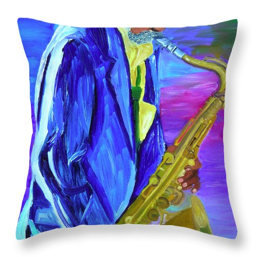 Street Musician Throw Pillow featuring the painting Playing The Blues by Michael Lee