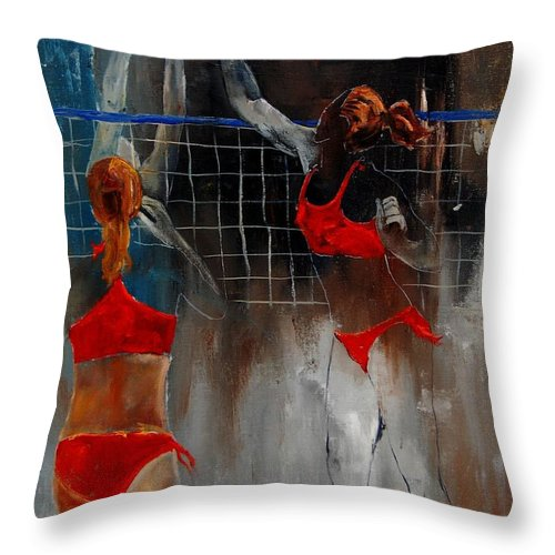 Sport Throw Pillow featuring the painting Playing Volley by Pol Ledent
