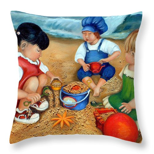Beach Throw Pillow featuring the painting Playtime At The Beach by Portraits By NC