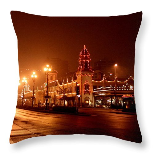 Plaza Throw Pillow featuring the photograph Plaza Lights 47th Street 3 by David Dunham