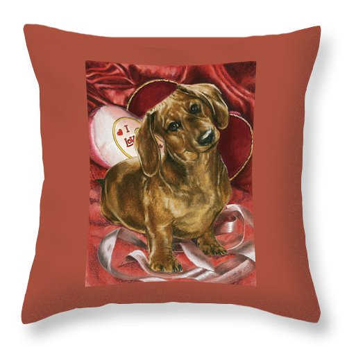 Purebred Throw Pillow featuring the mixed media Please Be Mine by Barbara Keith
