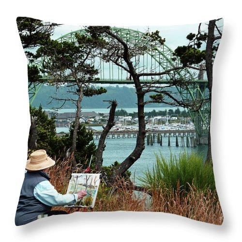 Plein Air Artist Throw Pillow featuring the photograph Plein Air Artist by Methune Hively