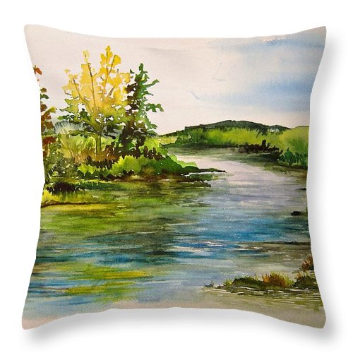 Grand Beach Manitoba Lagoon Throw Pillow featuring the painting Plein Air at Grand Beach Lagoon by Jo Smoley