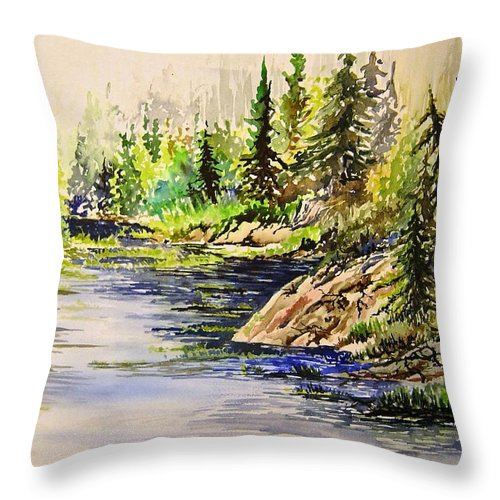 Nutimik Lake Manitoba Landscape Throw Pillow featuring the painting Plein Air At Nutimik Lake In Manitoba by Joanne Smoley