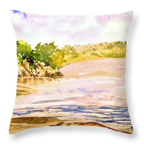 Pine Falls Manitoba Throw Pillow featuring the painting Plein Air At Pine Falls Manitoba by Joanne Smoley