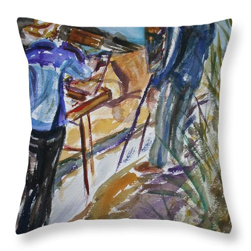 Impressionist Throw Pillow featuring the painting Plein Air Painters - Original Watercolor by Quin Sweetman