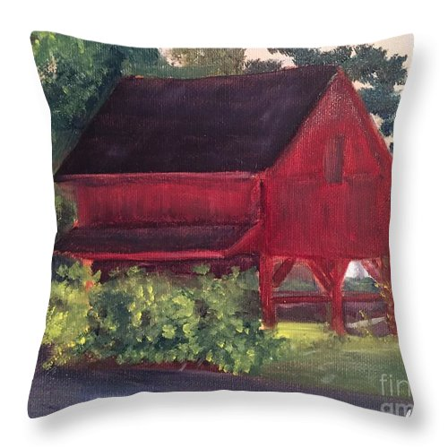 Medford Throw Pillow featuring the painting Plein Aire 7-12-16 by Sheila Mashaw
