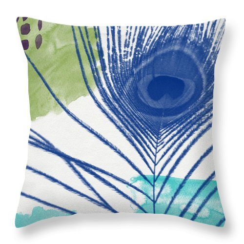 Peacock Throw Pillow featuring the painting Plumage 3- Art By Linda Woods by Linda Woods
