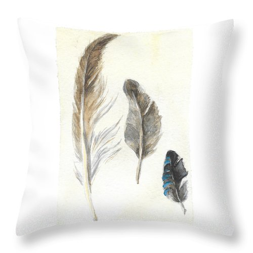Plumage Throw Pillow featuring the painting Plumage by Yana Sadykova