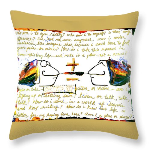 Gallery Throw Pillow featuring the painting Plus Minus by Dar Freeland