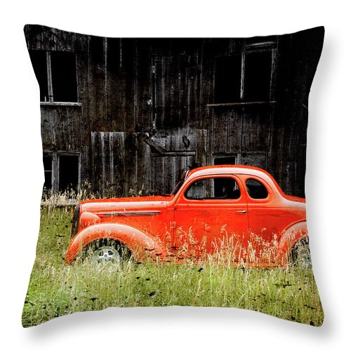 Hot Rod Throw Pillow featuring the photograph Plymouth Hot Rod by Joel Witmeyer