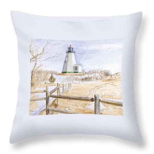 Lighthosue Throw Pillow featuring the painting Plymouth Light In Winter by Dominic White
