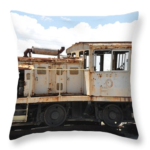 Locomotive Throw Pillow featuring the photograph Plymouth Locomotive by John Black