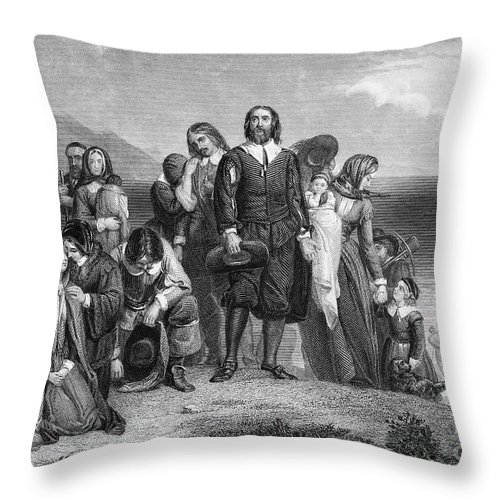 1620 Throw Pillow featuring the photograph Plymouth Rock: Landing by Granger