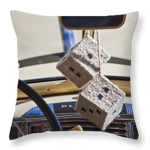 Plymouth Special Deluxe Throw Pillow featuring the photograph Plymouth Special Deluxe Dice by Jill Reger
