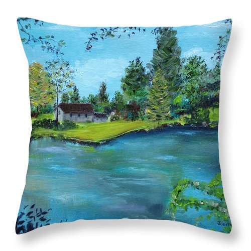Landscape Throw Pillow featuring the painting Pocono Reflection by Judith Rhue