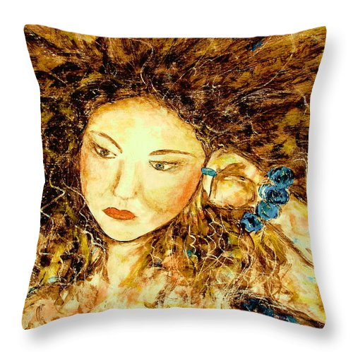 Portrait Throw Pillow featuring the painting Poet by Natalie Holland