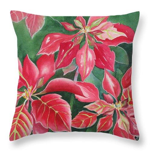 Poinsettias Throw Pillow featuring the painting Poinsettia Magic by Deborah Ronglien