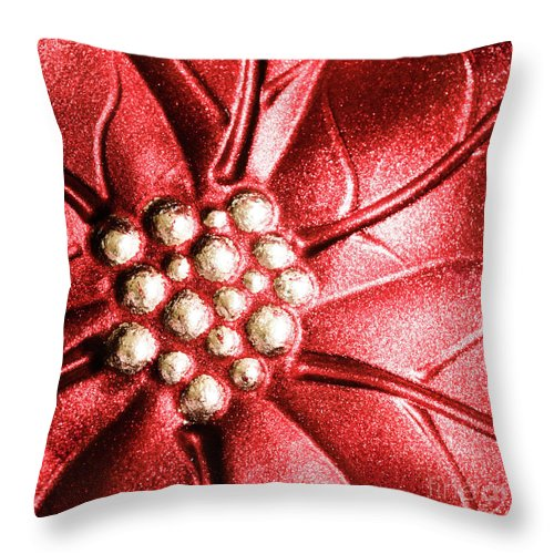 Poinsettia Throw Pillow featuring the photograph Poinsettia Abstract by Margaret Koc
