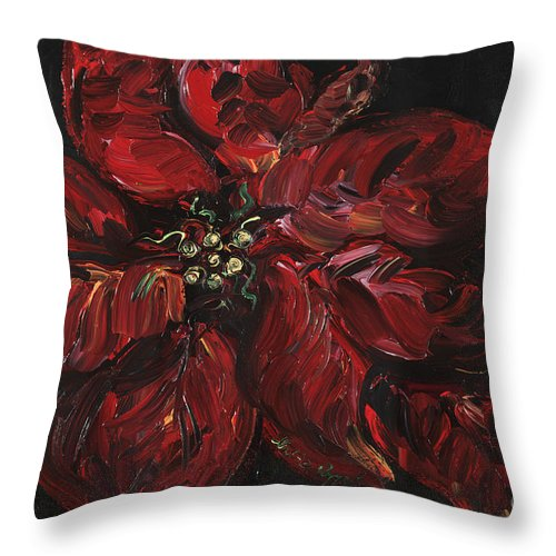 Abstract Throw Pillow featuring the painting Poinsettia by Nadine Rippelmeyer