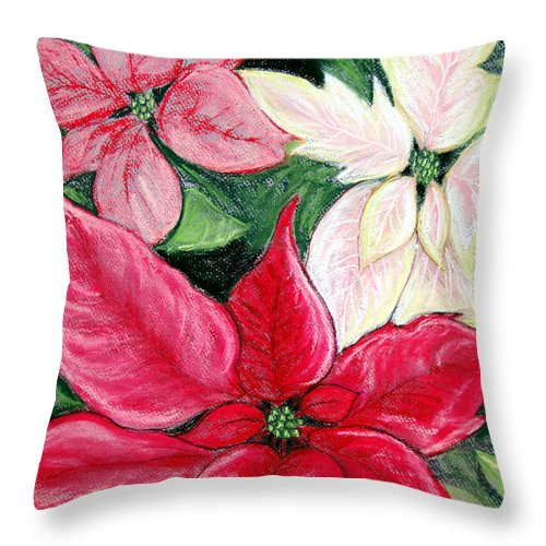 Poinsettia Throw Pillow featuring the pastel Poinsettia Pastel by Nancy Mueller