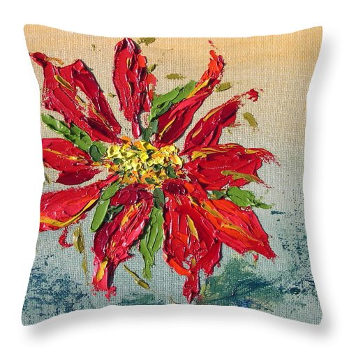 Red Flower Christmas Holiday Green Throw Pillow featuring the painting Poinsettia by Patricia Caldwell