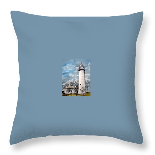 Lighthouse Painting Throw Pillow featuring the painting Point Aux Barques Lighthouse by Derek Mccrea