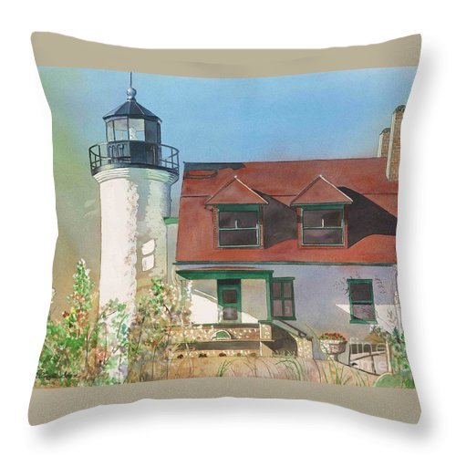 Point Betsie Throw Pillow featuring the painting Point Betsie Lighthouse by LeAnne Sowa