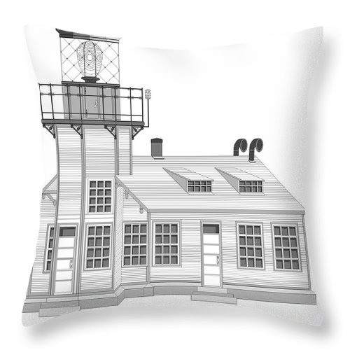 Lighthouse Throw Pillow featuring the painting Point Cabrillo Architectural Drawing by Anne Norskog