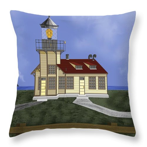Lighthouse Throw Pillow featuring the painting Point Cabrillo California by Anne Norskog