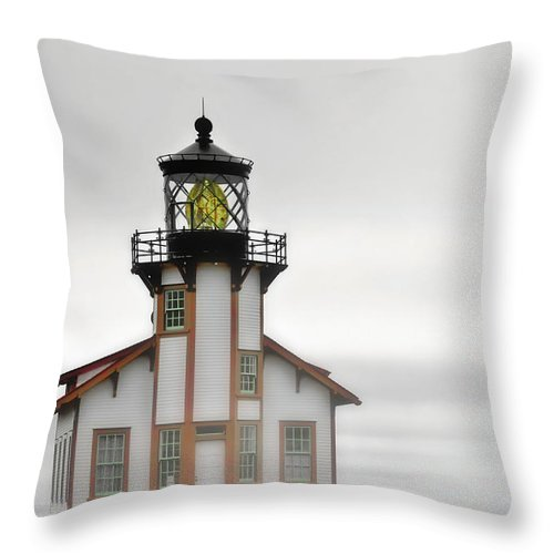 Point Cabrillo Lighthouse Throw Pillow featuring the photograph Point Cabrillo Light Station - Mendocino Ca by Christine Till