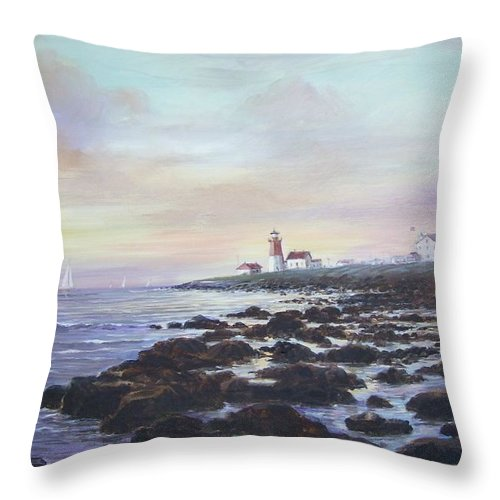 Seascape Throw Pillow featuring the painting Point Judith Light R I by Perrys Fine Art