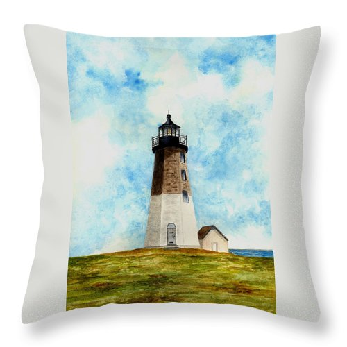 Lighthouse Throw Pillow featuring the painting Point Judith Lighthouse by Michael Vigliotti