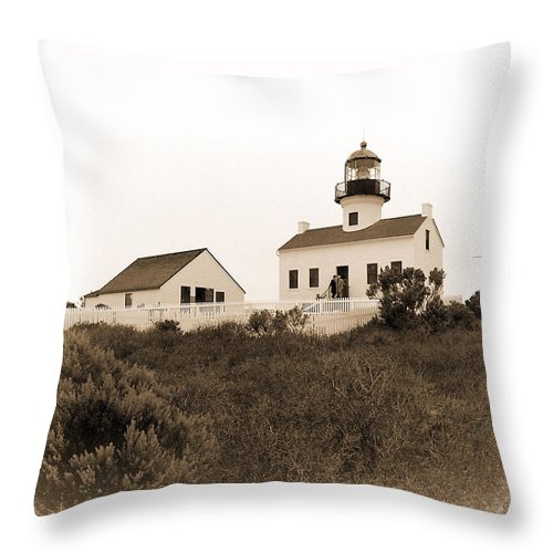 House Throw Pillow featuring the photograph Point Loma Lighthouse by Bill Grolz