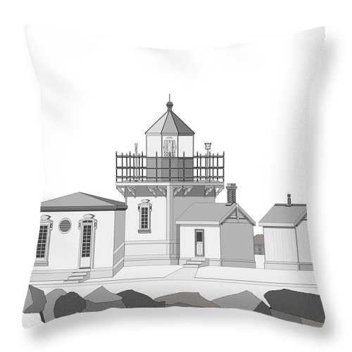 Lighthouse Throw Pillow featuring the painting Point No Point As Architectural Drawing by Anne Norskog