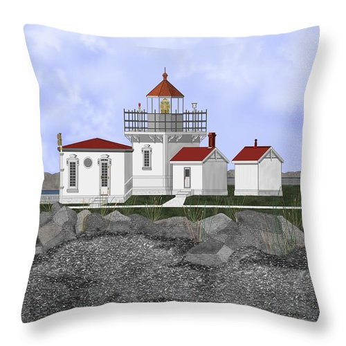 Lighthouse Throw Pillow featuring the painting Point No Point Lighthouse by Anne Norskog